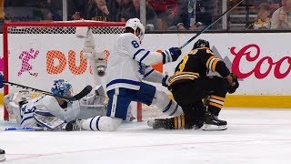 Frederik Andersen extends left pad for terrific save on Marchand by NHL