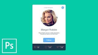 FLAT DESIGN: Create Profile Card User Interface with Photoshop CC