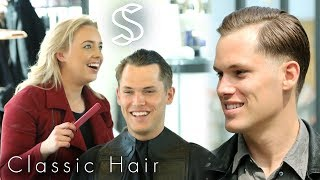 The Classic Comb Over Hairstyle for Men - A Casual Business Haircut ★ Shop online! http://www.SlikhaarShop.com ★Follow, like, share and more: ⇨ Subscribe! http://bit.ly/SlikhaarTV⇨ Snapchat: SlikhaarTV⇨ Facebook: https://www.facebook.com/SlikhaarTVGroup⇨ Instagram: https://www.instagram.com/slikhaartv/⇨ Blog: http://www.slikhaarshop.com/news ⇨ Newsletter: http://eepurl.com/B6MqjThis haircut and hairstyle is one of the classics. It can be worn very tight or casual depending on the tools and products you choose to use when styling it. This hairstyle also work brilliant if you have a large forehead or a receding hairline*. The style is well know from the 60s/80s and you often see it in movies and TV shows like Mad Men.*The receding hairline is a problem for many. Thankfully though, it's also one of the easiest hair problems to work around. A lot of people think that you need to cover up your receding hairline, but that isn't the case. There are plenty of styles you can choose to wear, and this is our favorite.HAIRCUT MEASUREMENTSSides: 1-4 cmBackhead: 2-4 cmFringe / top front: 7-10 cmTop back: 6-7 cmPlease let us know what other videos you'd like us to make.PRODUCTS USED☆ By Vilain SKYLINEhttps://www.slikhaarshop.com/catalogsearch/result/?q=skyline☆ By Vilain FREESTYLERhttps://www.slikhaarshop.com/catalogsearch/result/?q=freestyler☆ By Vilain SIDEKICKhttps://www.slikhaarshop.com/catalogsearch/result/?q=sidekick☆ By Vilain POWERMADEhttps://www.slikhaarshop.com/powermade-pomade/☆ By Vilain SILVER FOXhttps://www.slikhaarshop.com/catalogsearch/result/?q=silver+foxMusic byPrimacy funk - Finally (Extended Mix)Location: Slikhaar StudioHairdresser: NicolineBest regardsEmil & Rasmus Vilain AlbrechtsenSLIKHAAR TV TEAMSend all requests to: info@slikhaarshop.com♥ Slikhaar TV is a hairstyling channel for men founded by the twin brothers Emil & Rasmus. We give you new hairstyle inspiration every week: Tutorials, how-to videos, celebrity and footballer hairstyles, and professional tips to optimize your hair and overall style.