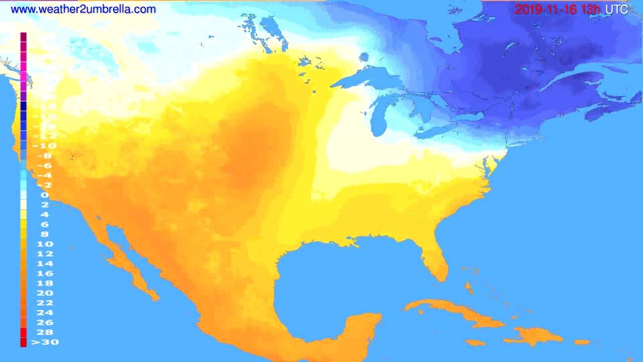 Temperature forecast USA & Canada // modelrun: 12h UTC 2019-11-14