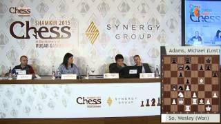 GM Wesley So vs GM Michael Adams, game Analysis - Shamkir Chess Tournament 2015