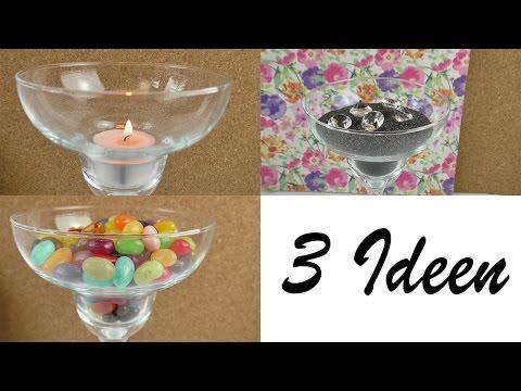 3 Dekoideen mit Gläsern | Schöne Cocktailgläser für unser Studio mit Süßigkeiten, Sand & Kerzen