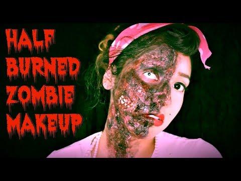 Half Burned Zombie Makeup Tutorial