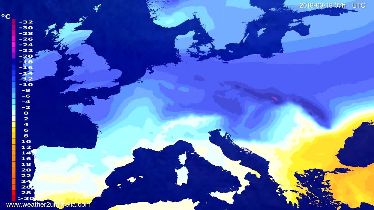 Temperature forecast Europe 2018-03-14