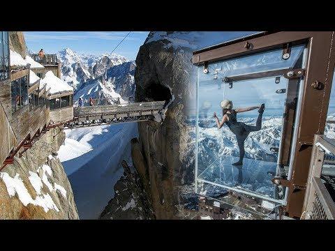 ஐரோப்பாவின் அதியுயர் பனிமலையான அல்ப்ஸ்க்கு ஒரு சாகச பயணம்!!!  -  HD Mont Blanc Chamonix Aiguille du Midi in the French ALPS - Step into the void