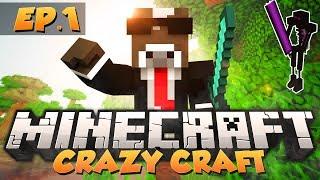 """Minecraft """"CRAZY CRAFT BEGINS!"""" - CRAZY CRAFT Modded Survival - Ep. 1 ( Crazy Craft Part 1 )"""