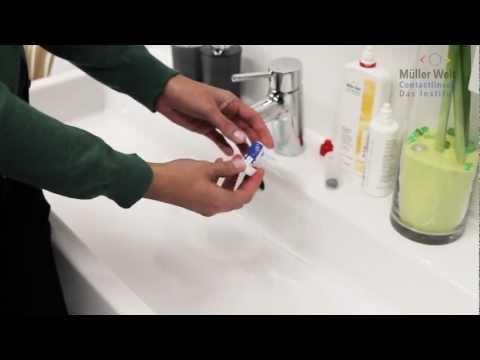 Weiche Kontaktlinsen reinigen mit einem Wasserstoff-Peroxid-System