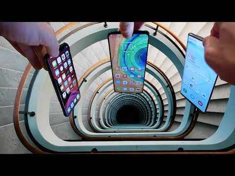 Dropping iPhone 11 Pro vs Note 10 vs Huawei Mate 30 Down Spiral Staircase Deep Hole - What Happens?