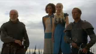 "Outside Yunkai, Daenerys, her advisors, and her Unsullied army stand ready to greet the slaves of the city and free them. When they arrive, Missandei tells them that Daenerys has freed them, but Daenerys tells the slaves that only they can take their freedom back. The crowd begins to chant ""mhysa"", which Missandei tells Daenerys is ghiscari for ""mother"". Daenerys commands her dragons to fly and then passes her army to walk amongst the freed slaves, who lift her to their shoulders. Daenerys smiles and looks up into the sky as her dragon fly freely."