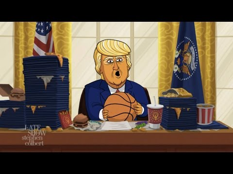 Cartoon Donald Trump Announces His March Madness Bracket Picks (видео)
