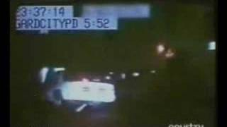 http://www.crypticmedia.com A cop car chase turns chilling as the car that was chased suddenly disappears into a fence.