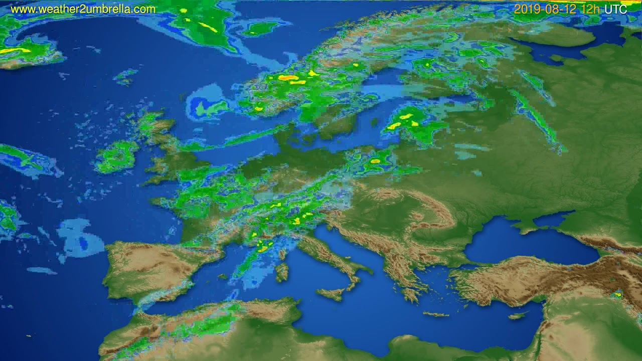 Radar forecast Europe // modelrun: 00h UTC 2019-08-12