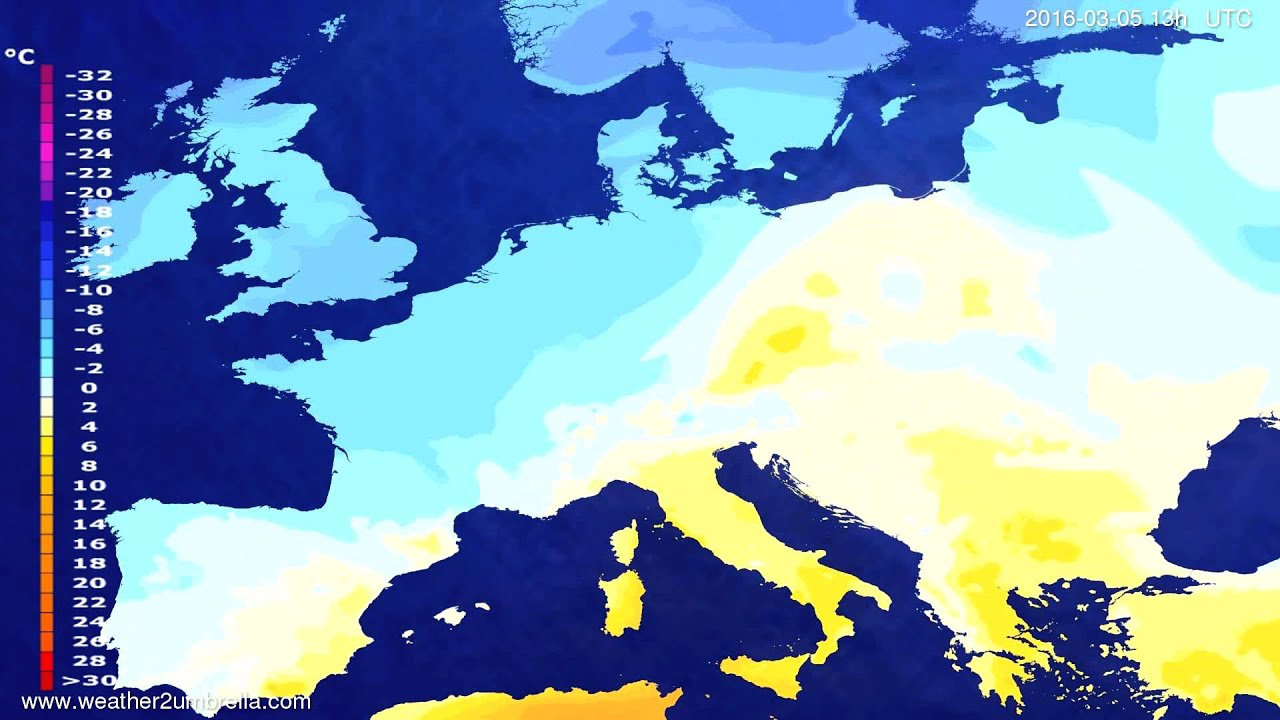 Temperature forecast Europe 2016-03-02