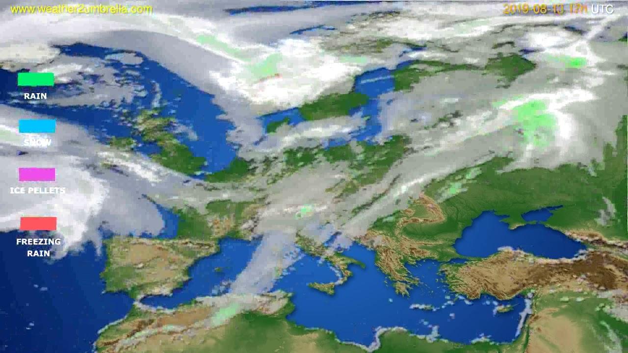 Precipitation forecast Europe // modelrun: 00h UTC 2019-08-12