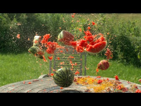 Watermelon explosion using rubber bands in slow