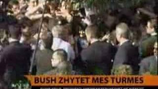 Bush in Albania 2007 - Cheering in Fushe Kruja