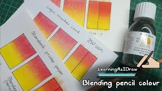 Blending coloured pencils comparison with a zest-it review and Derwent pencil blender review too, kinda :). Also looking at the best paper to use with coloured pencils?In this video I use Faber Castell Polychromos pencil colours on standard printer paper, copic marker card and watercolour paper. Comparing which the pencils look best on, and of course, which they blend best on, using a Derwent blender vs using Zest-it pencil blend. You could also use other brands of pencil blender, I have heard good things about people using paint thinner to blend the colours, specifically the Mona Lisa paint thinner.I planned this video as a short 5 mins max comparing different papers and different methods of blending pencil colour. Somehow it ended up being nearly 15 mins of me talking lol! Somehow it also turned into a bit of a review of zest-it pencil blend and using a Derwent pencil blender too. Hopefully there is something useful in there though and hopefully I didn't bore anyone to death!Personally I think the Zest-it blend gave the nicest effect on the water colour paper, but it does take a little while and is a little messy too! I would love to hear what papers you guys use and what blending tools etc you find work the best :)Thanks for watching :) Please check out my pages below. Also please do show your support by liking and sharing my page with your friends. Thanks!facebook- http://facebook.com/learningasidrawdeviantart-  http://learningasidraw.deviantart.comInstagram - https://www.instagram.com/learningasidrawart/twitter- http://twitter.com/learningasidrawblog- http://learningasidraw.blogspot.co.uk