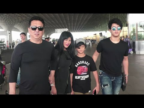 Sajid Nadiadwala With Family-Wife & Sons At Airport