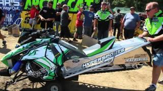 6. 139 mph snowmobile grass drag race. BoonDocker Arctic Cat 2012 Procross