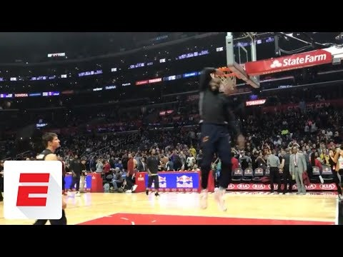 Download LeBron James teases what his dunk contest might look like during pregame warmups | ESPN HD Mp4 3GP Video and MP3