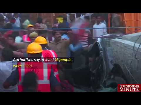 Cars, buses and their occupants were crushed when part of a flyover collapsed in the northern Indian city of Varanasi on Tuesday.
