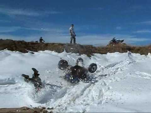Jumping Our Quads Into Snow Drifts!