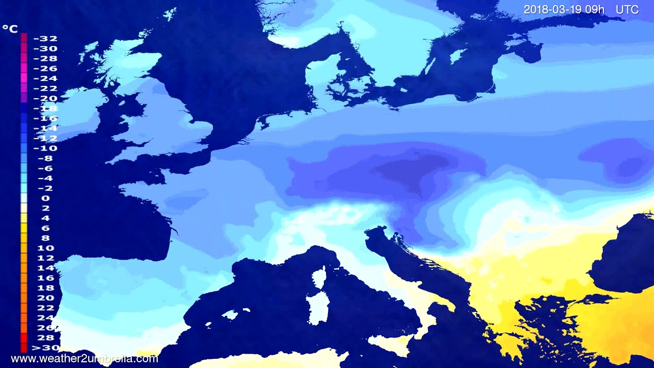 Temperature forecast Europe 2018-03-15