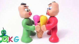 Video Green Baby Gets BIG ICE CREAM! In Fun Color Baby Superhero - Stop Motion Cartoons For Kids MP3, 3GP, MP4, WEBM, AVI, FLV Juli 2018