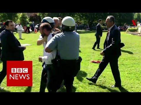 Video - ΗΠΑ: Υποδοχή Ερντογάν με μαζικές διαδηλώσεις - Τρόμος στις υπηρεσίες ασφαλείας