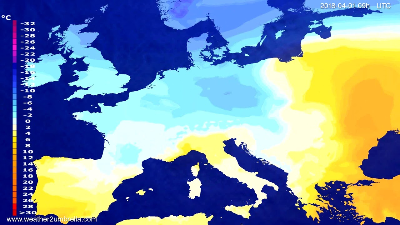 Temperature forecast Europe 2018-03-28