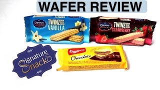 Snackinworld reviewing the Signature Snacks wafer twinz vanilla and strawberry flavour from Germany with bauducco chocolate flavour wafer snack all the way f...