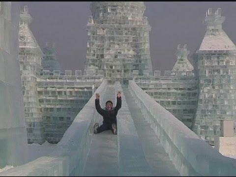 Harbin - Ice castles, sculptures and slides form part of China's $19 million snow and ice city in the northern city of Harbin. Report by Sophie Foster. Like us on Fac...