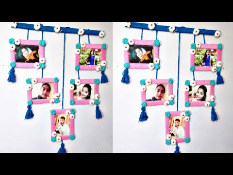 How To Make Collage Photos Frame   With wool AND CARD  BOARD And Other Decoration Things