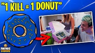 Download Video NINJA TAKES ON THE DONUT CHALLENGE w/ WIFE! (1 kill = 1 donut) MP3 3GP MP4
