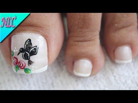 Diseños de uñas - DISEÑO DE UÑAS PARA PIES COLIBRÍ Y ROSAS - ROSES NAIL ART - NLC