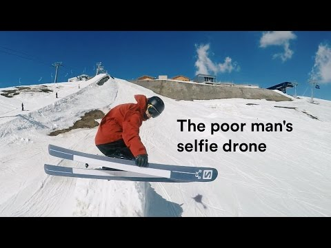 Skier Throws His GoPro Up Into the Air While Going Down Slopes to Capture Aerial Shots of His