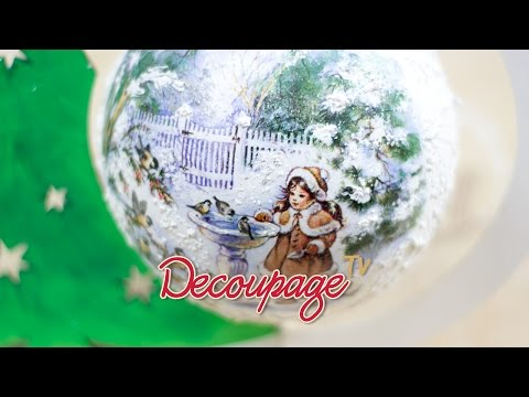 decoupage - sfera natalizia su suporto in legno