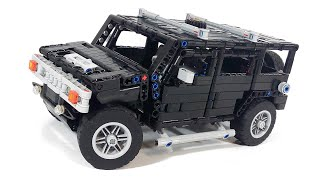 "- Scale: 1:19- Manual model (no RC functions)- RWD, working mini V8 piston engine- ""Hand of God"" steering with working steering wheel- Openable doors, hood and trunk- Easy changing to SUT version- Scale: 1:10- 1L motor for drive- 1 Servo-motor for steering- Working 4-cylinder piston engine - RWD (Unrealistic to Mini Cooper because of scale)- Manual clutch- Doors with locks- Openable hood, doors and trunk- Easy to remove the body from the chassisInstruction:http://rebrickable.com/mocs/Fanylover/hummer-h2"