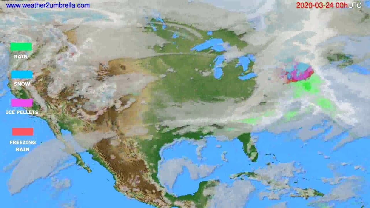 Precipitation forecast USA & Canada // modelrun: 00h UTC 2020-03-23