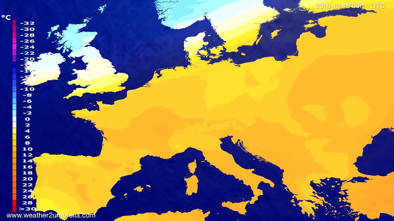 Temperature forecast Europe 2018-10-16