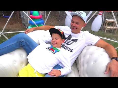 Макс и папа построили новый игровой DIY домик для детей / Max and papa build new play house for kids (видео)