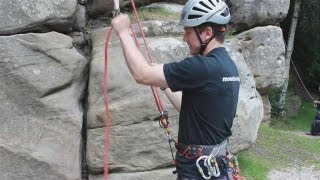 In this video, Laurence Reading from Mountain Trips demonstrates the proper technique and equipment necessary to belay. Get climbing together safely and effectively with the tips and techniques offered here.Watch This and Other Related films here: http://www.videojug.com/film/how-to-belaySubscribe! http://www.youtube.com/subscription_center?add_user=videojugsportCheck Out Our Channel Page: http://www.youtube.com/user/videojugsportLike Us On Facebook! https://www.facebook.com/videojugFollow Us On Twitter! http://www.twitter.com/videojug