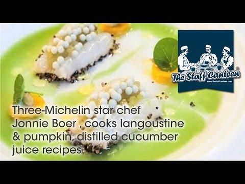 Three-Michelin star chef Jonnie Boer , cooks langoustine & pumpkin, distilled cucumber juice recipes
