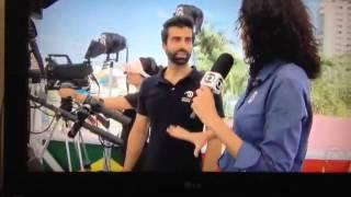 Estúdio móvel da chinesa LeTV nas Olimpíadas vira notícia em TV brasileira.