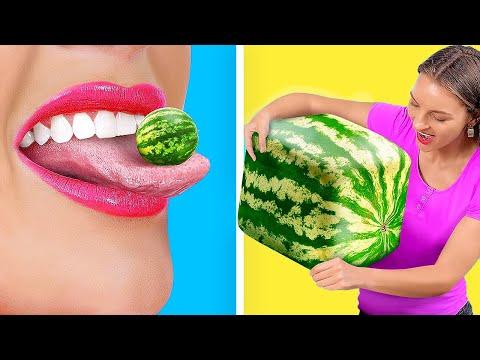 DÉFI DES ALIMENTS GÉANTS ET MINUSCULES ! || Drôles De Défis Alimentaires par 123 GO! GOLD