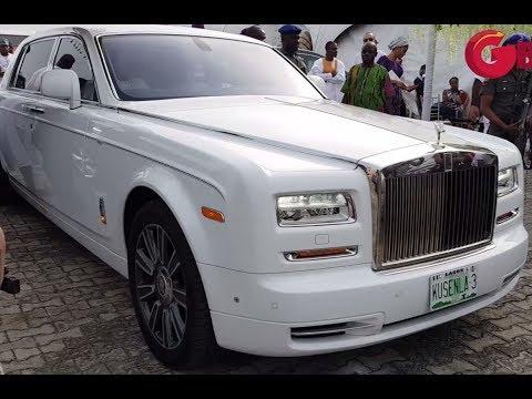 Oba Elegushi Arrives Oritsefemi's Wedding In Latest Rolls Royce Phantom, Alongside Efe & Jaywon