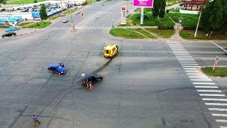 Ulyanovsk Russia  city pictures gallery : Car Accident Caught On Drone Camera in Ulyanovsk Russia