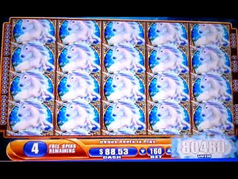 Mystical Unicorn HUGE MEGA BIG WIN Bonus Hit WMS Slot Machine