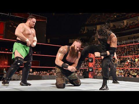 The Roman reigns vs Braun Strowmen vs Samoa Joe Triple thread match RAW 31/07/2017👌