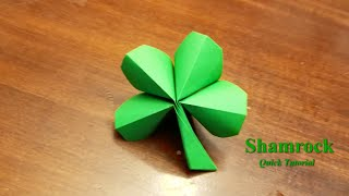 Origami 4 Leaf Clover- How to make an origami four leaf clover - Quick tutorial